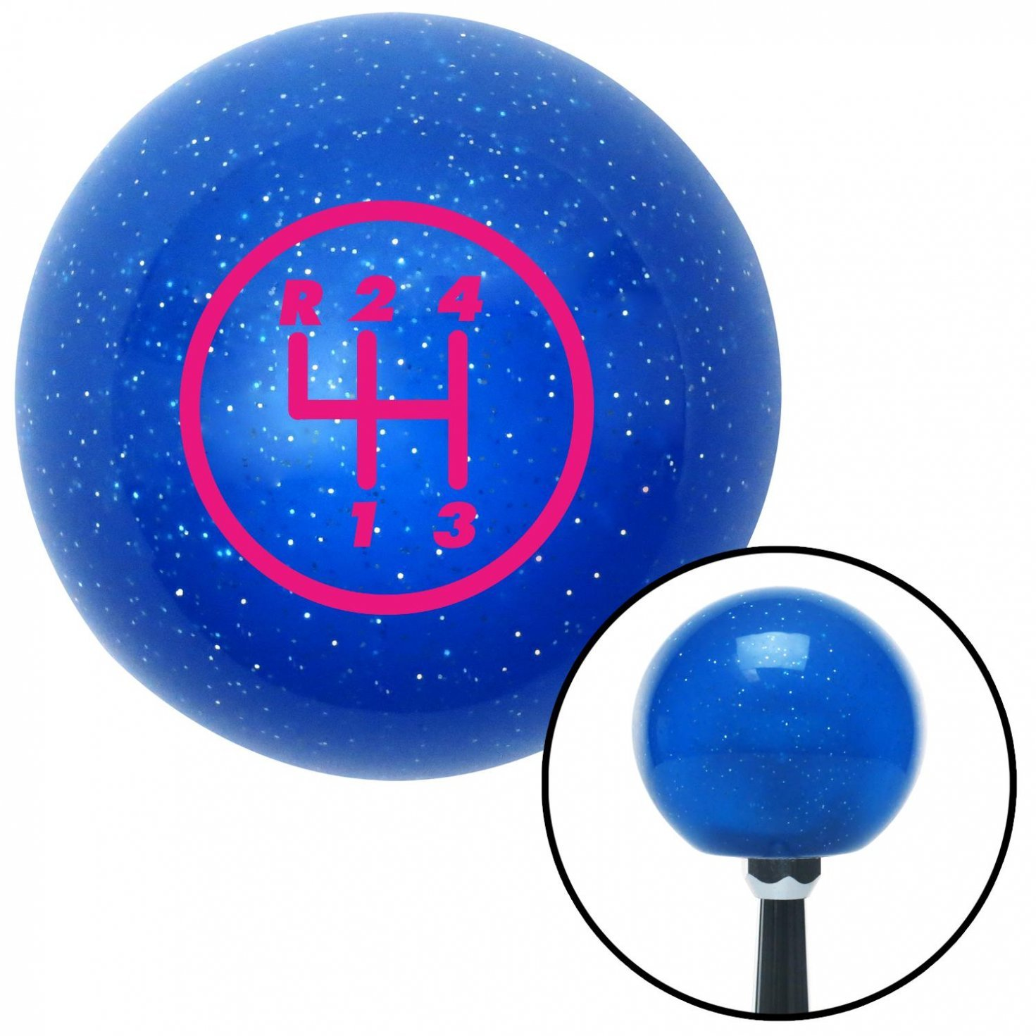 American Shifter 20346 Blue Metal Flake Shift Knob with 16mm x 1.5 Insert Pink 4 Speed Shift Pattern - 4RUL