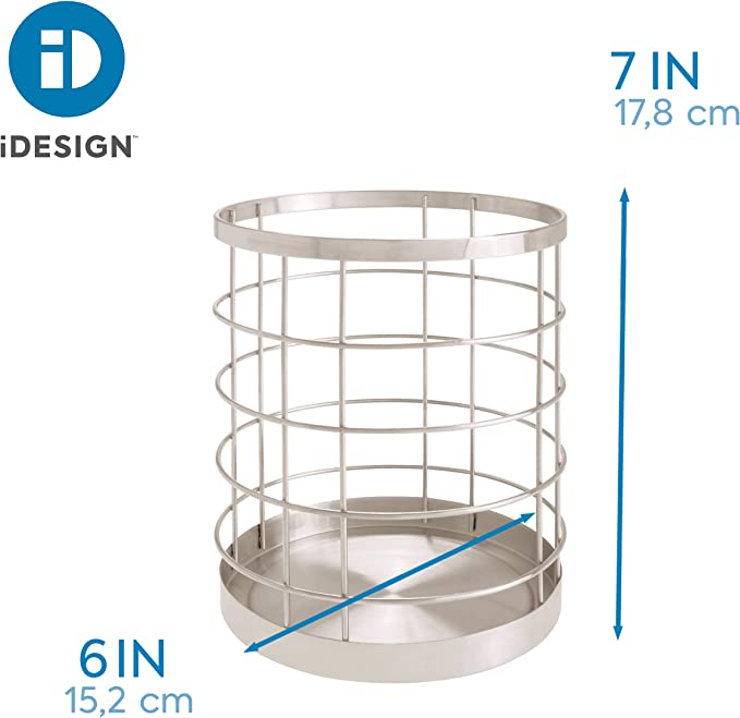 Matte Satin iDesign Austin Wire Utensil Holder for Kitchen Countertop Storage