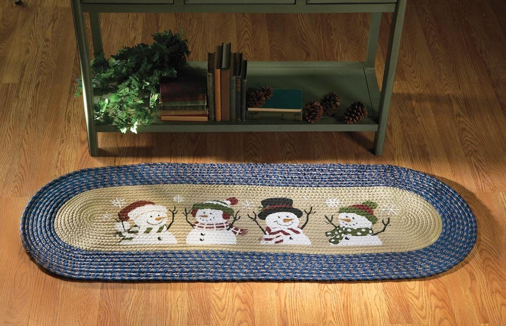 Snowman Christmas Braided Accent Rug