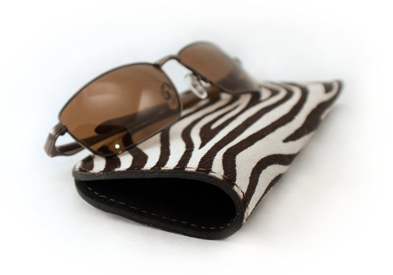 Genuine Furry Animal Print Leather Soft Sunglasses /& Eyeglasses Case