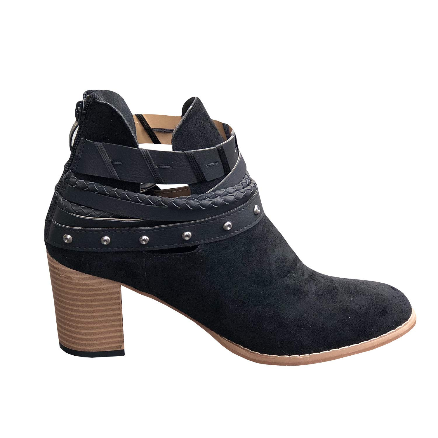 aceac09bbcdb4 Amazon.com: Womens Cutout Buckle Strappy Ankle Booties Chunky High Stacked  Heel Back Zipper Ankle Boots: Clothing