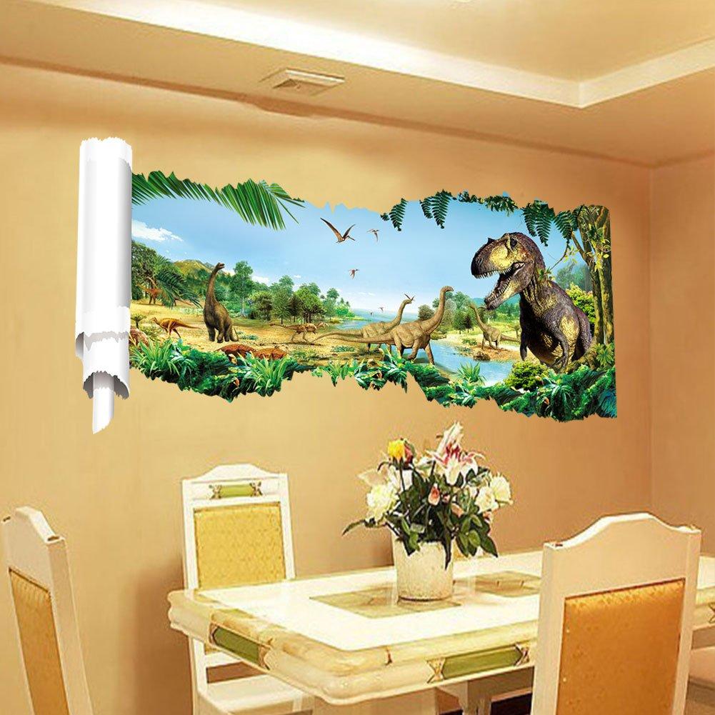 Amazon.com: 3D Dinosaur Wall Sticker Removable Wall Art Decor Decals ...
