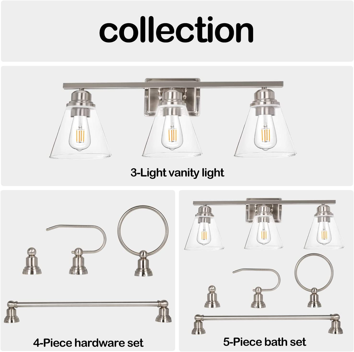3-Light Vanity Light Fixture, 5-Piece All-in-One Bathroom Set (Led Edison Bulbs as Bonus), Brushed Nickel Wall Sconce Lighting with Glass Shads, ETL Listed - -