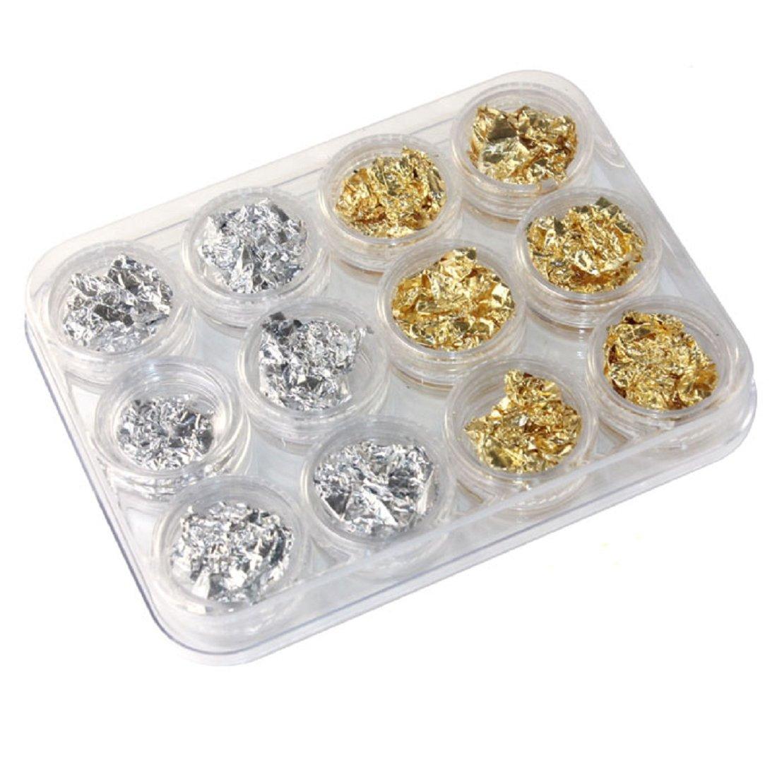 Sannysis 12 PCS Nail Art Gold Silver Paillette Flake Chip Foil DIY Acrylic UV Gel Pager