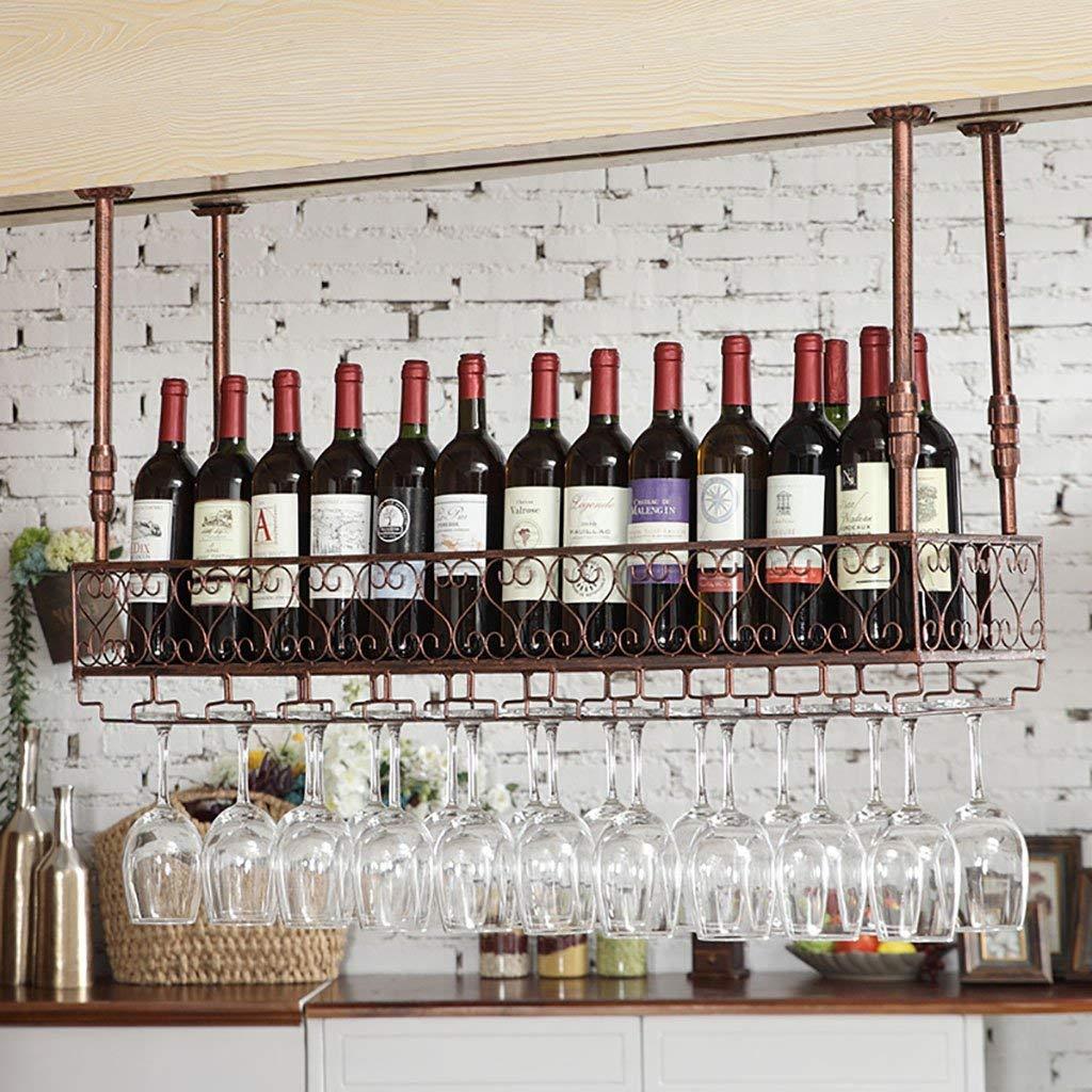 6025cm Red Wine Shelf Hanging Wine Rack Glassware Restaurant Decoration Wine Rack Retro Tall Glass Holder Creative Ingreened Cup Holder (Size   120  25cm) (color   -, Size   60  25cm)