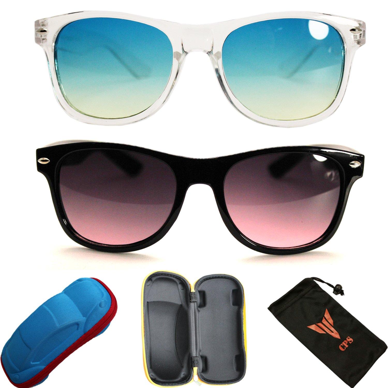 2 Pairs Kids Boys Girls Smoke Lens Men Women Unisex Black Sunglasses Eyewear + Hard Case