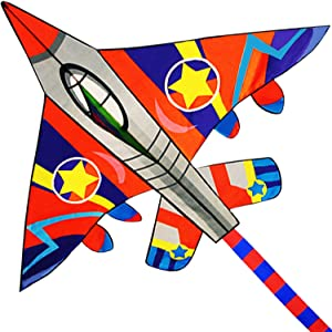 "HONBO Huge Fighter Plane Kite for Kids and Adults- 58"" Wide with Long Tail- Easy Flyer - Kit Line and Swivel Included-"