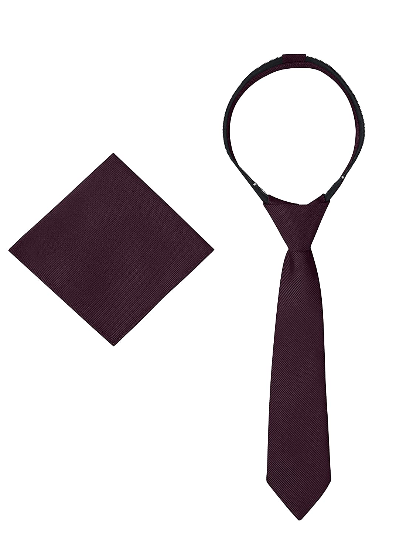 Ties For Boys Zipper Pre-Tied Woven Kids Tie Neckties /& Pocket Square School Uniforms Wedding