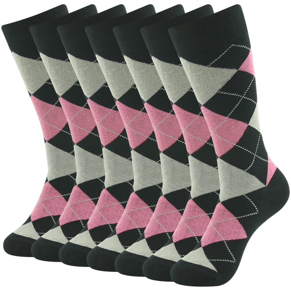 Wedding Groomsmen Socks, SUTTOS Men's Colored Argyle Cotton Formal Socks Pink Black Argyle Plaid Fancy Cotton Fashion Patterned Socks Long Tube Mid Calf Casual Crew Dress Socks School Team Socks,7 Pairs