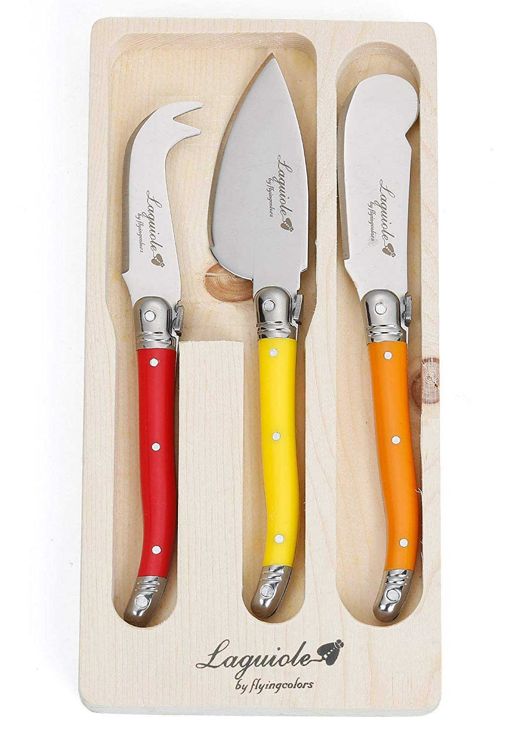 FlyingColors Laguiole Style 3-Piece Cheese Knives Set, with MultiColor Handles. LG06(TLTW-JTCS3-00)