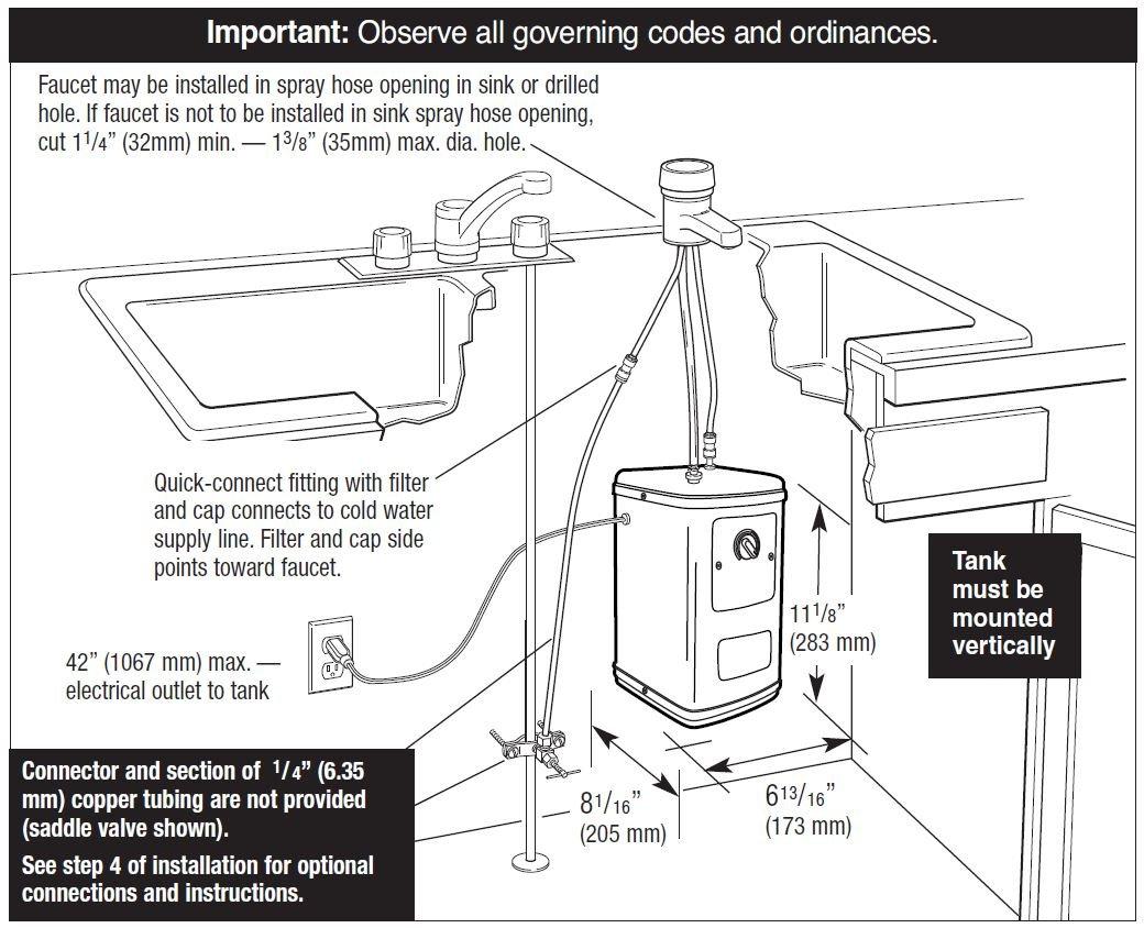 Waste King H711-U-SN Quick & Hot Water Dispenser Faucet & Tank ...