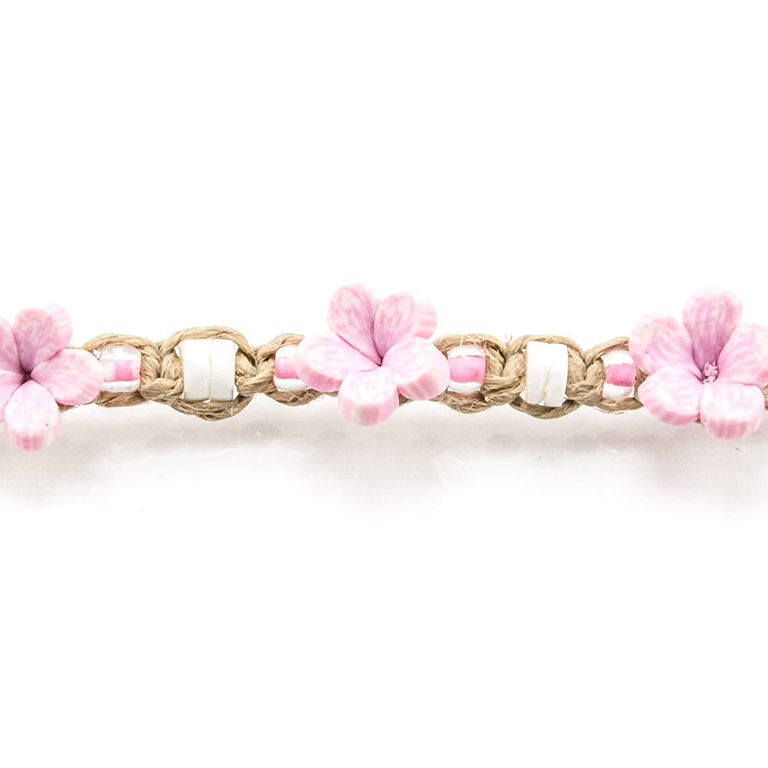 Hemp Anklet Bracelet with Puka Clam Shell Beads Light Pink Glass Beads and Light Pink 3D Fimo Flower Beads
