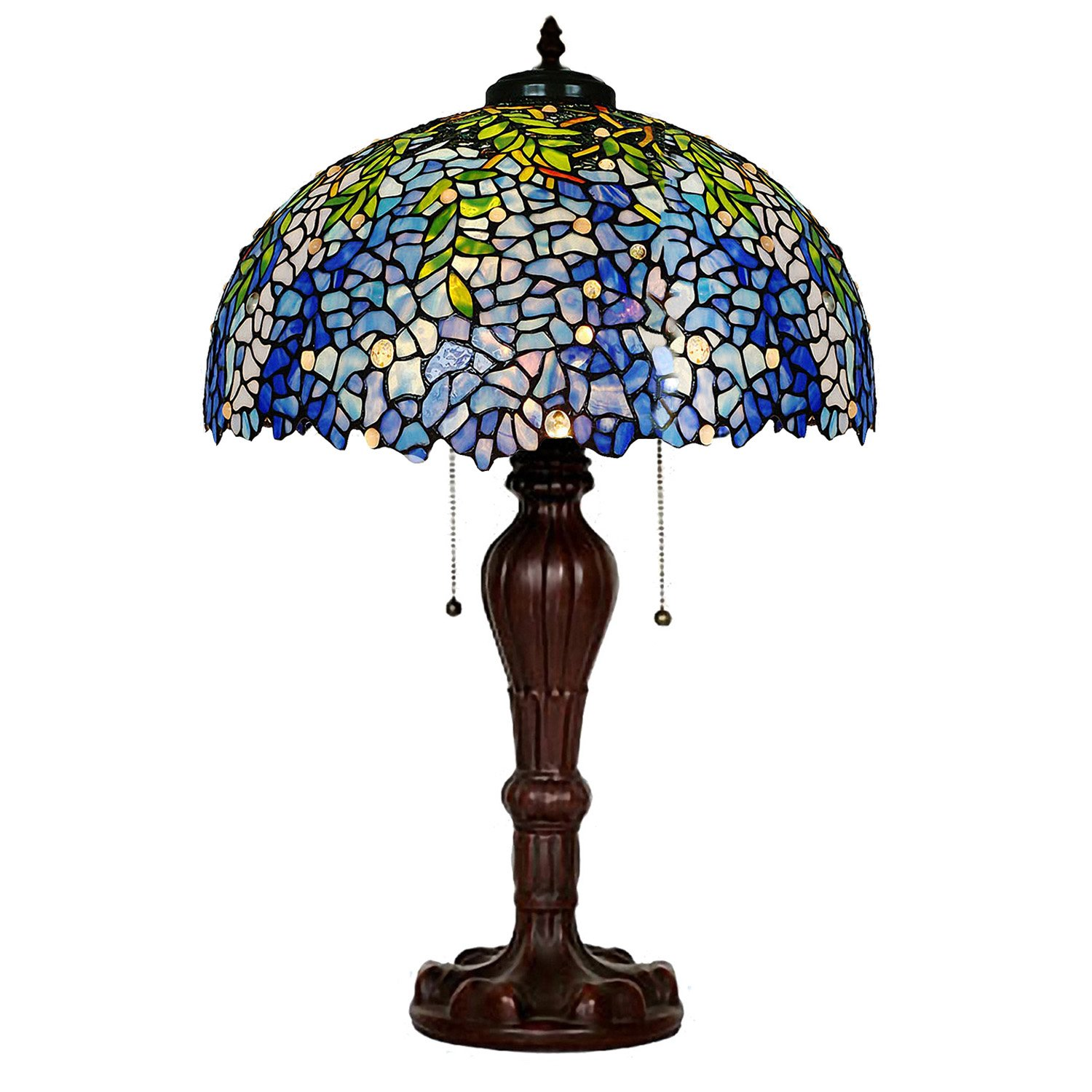 Table Lamps Magcolor Tiffany Style Stained Glass Purple Wisteria