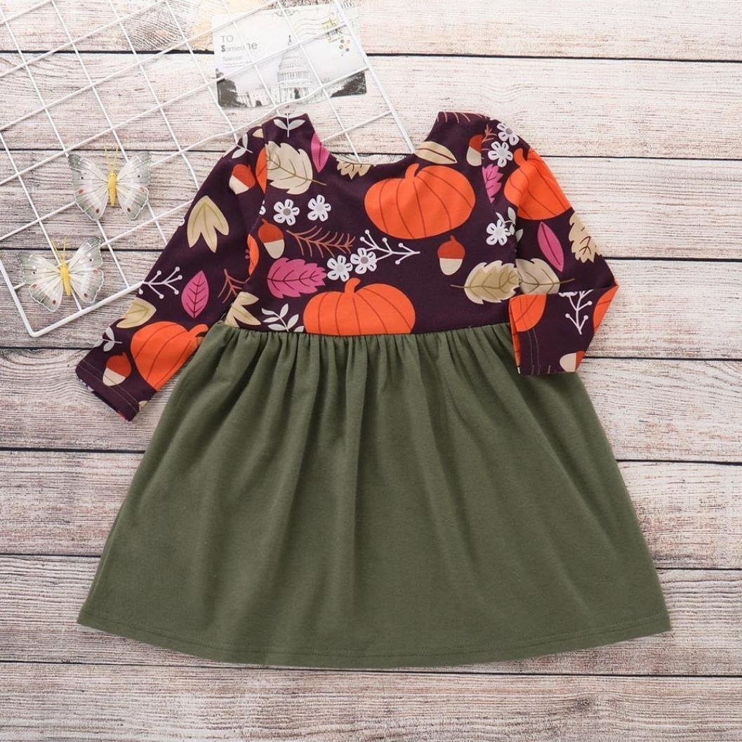 Kids Halloween Dress Baby Girls Pumpkin Print Splice Dress O-Neck Long Sleeve