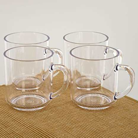 d241c31c721 Amazon.com | CITYPOINT 4 pcs, 11 OZ Crystal Clear Plastic Coffee Mug,  Restaurant Beverage Cups Party Juice Cups, Break-Resistant Plastic Picnic  Drinking ...