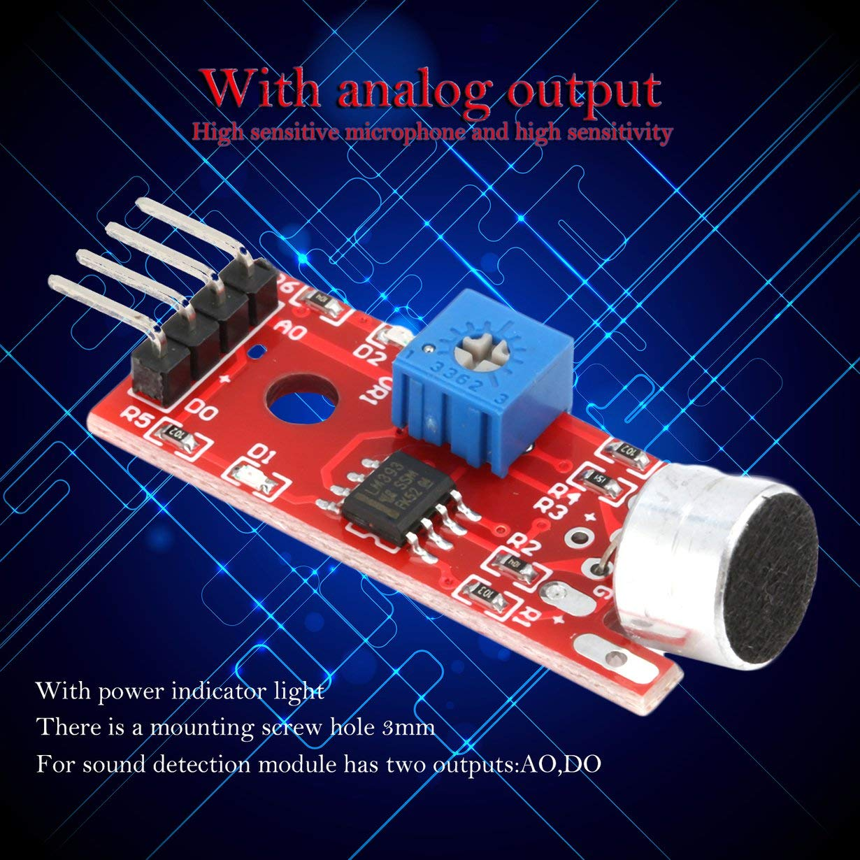 Comomingo KY-037 Spracherkennungssensormodul Mikrofon f/ür Arduino Sensitive rot