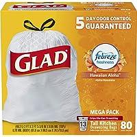 Glad OdorShield Tall Kitchen Drawstring Trash Bags - Febreze Hawaiian Aloha - 13 Gallon - 80 Count