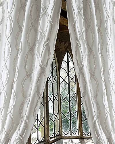 White trellis faux silk living room lined window curtain panel 52″W X 108″L