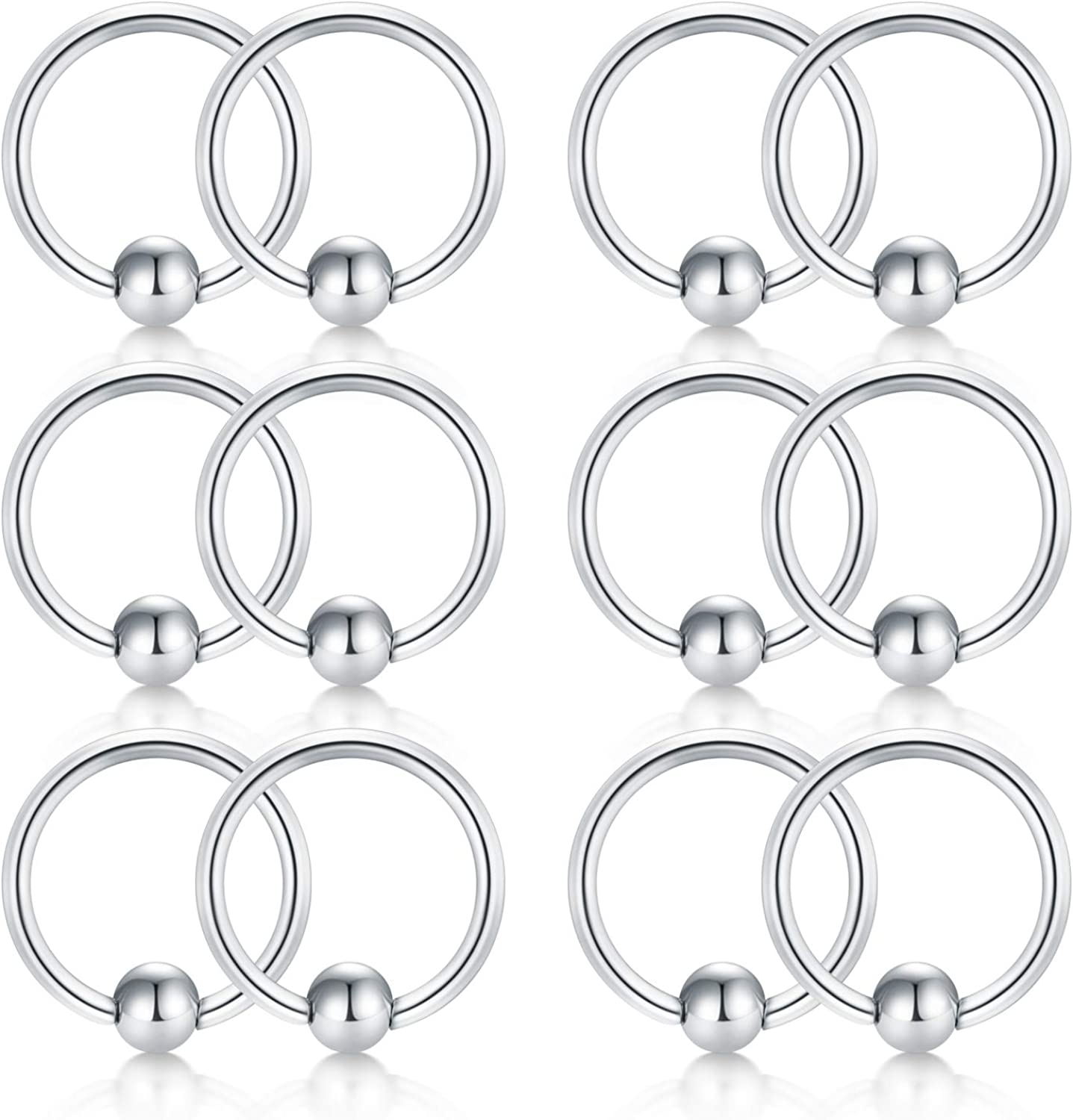 Briana Williams 12pcs 18G Attached Captive Bead Nose Hoop Rings Lip Eyebrow Tongue Helix Tragus Cartilage Earring Septum Piercing Ring 6-12mm