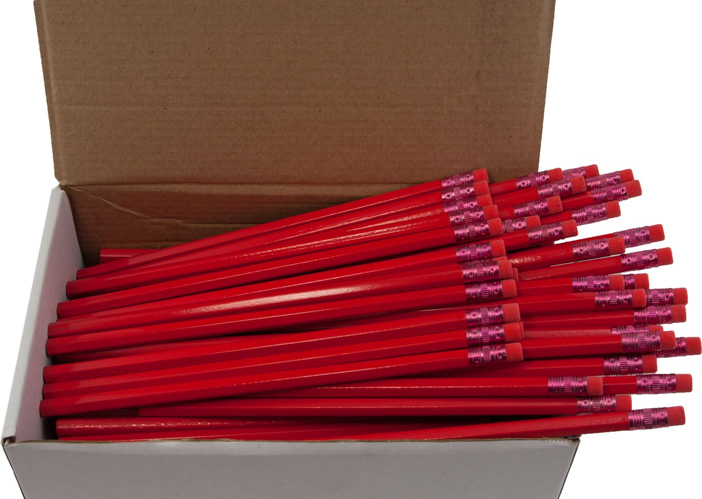 Hex Pencils (Full Size Hex Pencil with #2 Lead Available in a Variety of Colors) (Tested Non Toxic) (Latex Free Eraser) (Classroom Pencils) (Bulk Box of 144) (Red) (Black Lead)
