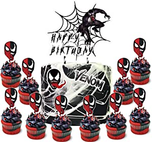 Party Decor for Venom Cake Cupcake Toppers Set, Spider Theme Birthday Supplies Favors Topper Decorations