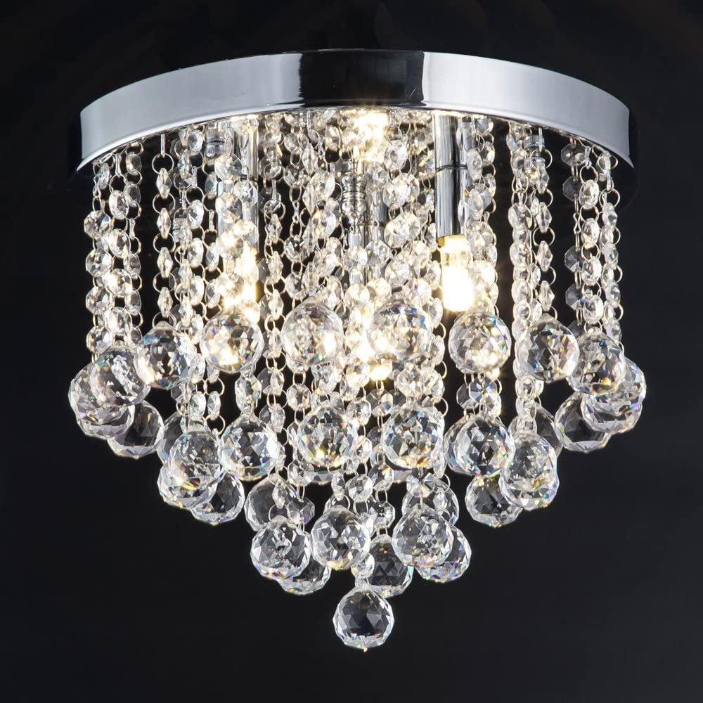 ZEEFO Crystal Chandelier, Modern Chandeliers Crystal Ball Light Fixture, 3 Lights, Flush Mount Ceiling Light 11.8 Inches Diameter for Hallway, Bedroom, Living Room, Kitchen, Dining Room Silver