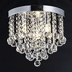 ZEEFO Crystal Chandelier, Modern Chandeliers Crystal Ball Light Fixture, 3 Lights, Flush Mount Ceiling Light 11.8 Inches Diameter for Hallway, Bedroom, Living room, Kitchen, Dining Room (Silver)