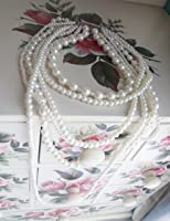 """New Fashion Long 6 Row White Faux Pearls Necklace 35"""""""