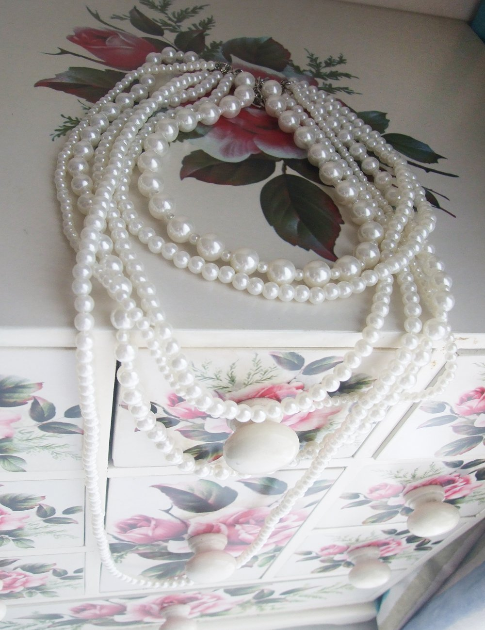 Amazon: New Fashion Long 6 Row White Faux Pearls Necklace 35