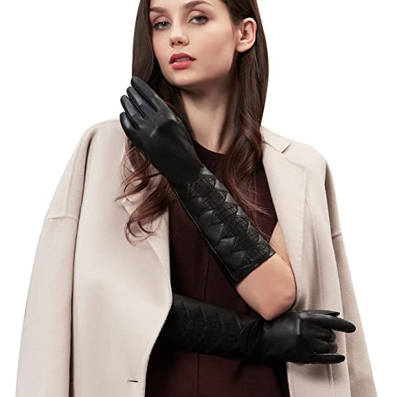 1a9864a445443 GSG Womens Long Leather Gloves Evening Gloves Black Leather Gloves Elbow  Length Gloves Faux Fur Lining Gloves Pleats Decoration  Amazon.co.uk   Clothing