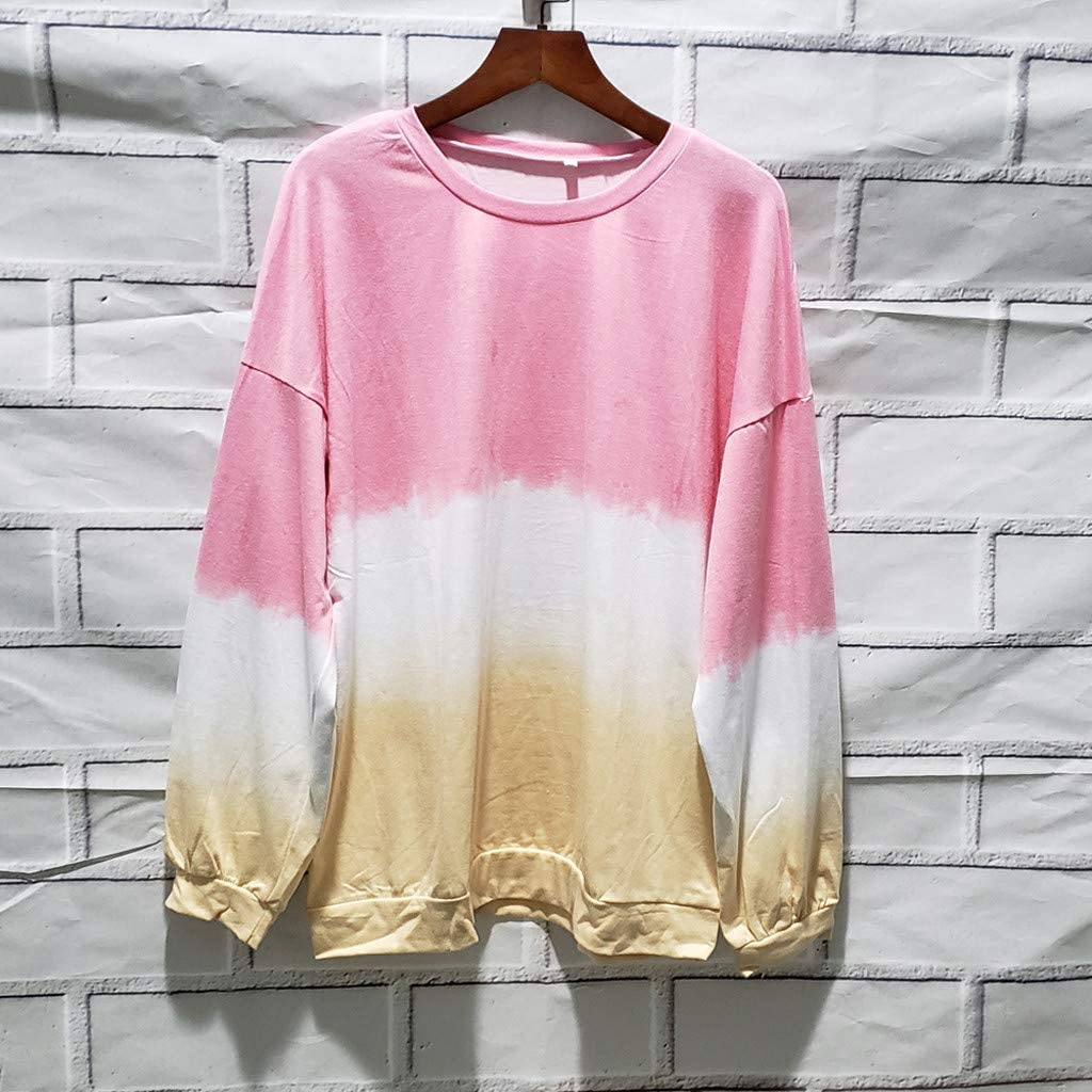 Ladies Long Sleeve Tie-Dye Casual Loose t-Shirt Tops Sports Fitness Slim Pullover Sweatshirt Autumn t-Shirt for Women