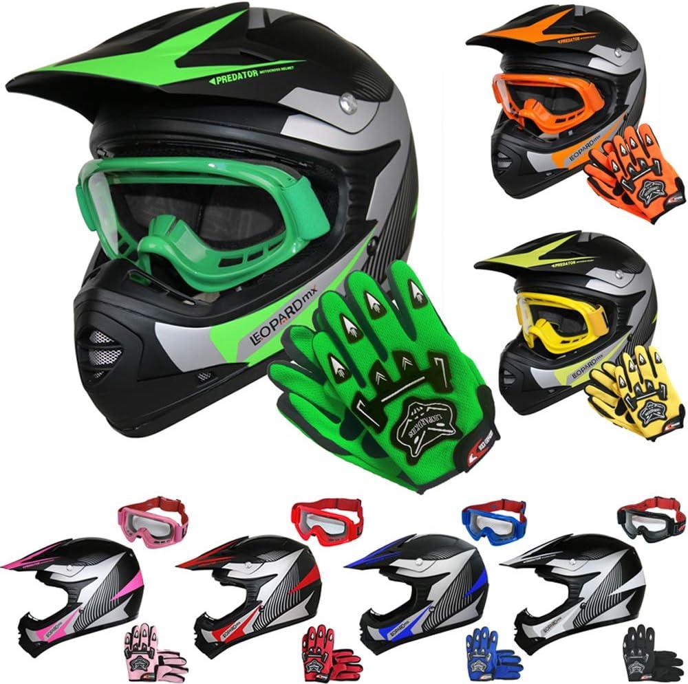 Leopard LEO-X19 Casque de Moto de Casques Motocross /& Gants denfants /& Lunettes de Protection pour Enfants Bicyclette ATV ECE 22-05 Approbation