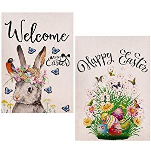 2Pcs Happy Easter Garden Flag, Double Sided Colorful Eggs and Bunny Rabbit Rustic Farmhouse Burlap Home Yard Decoration