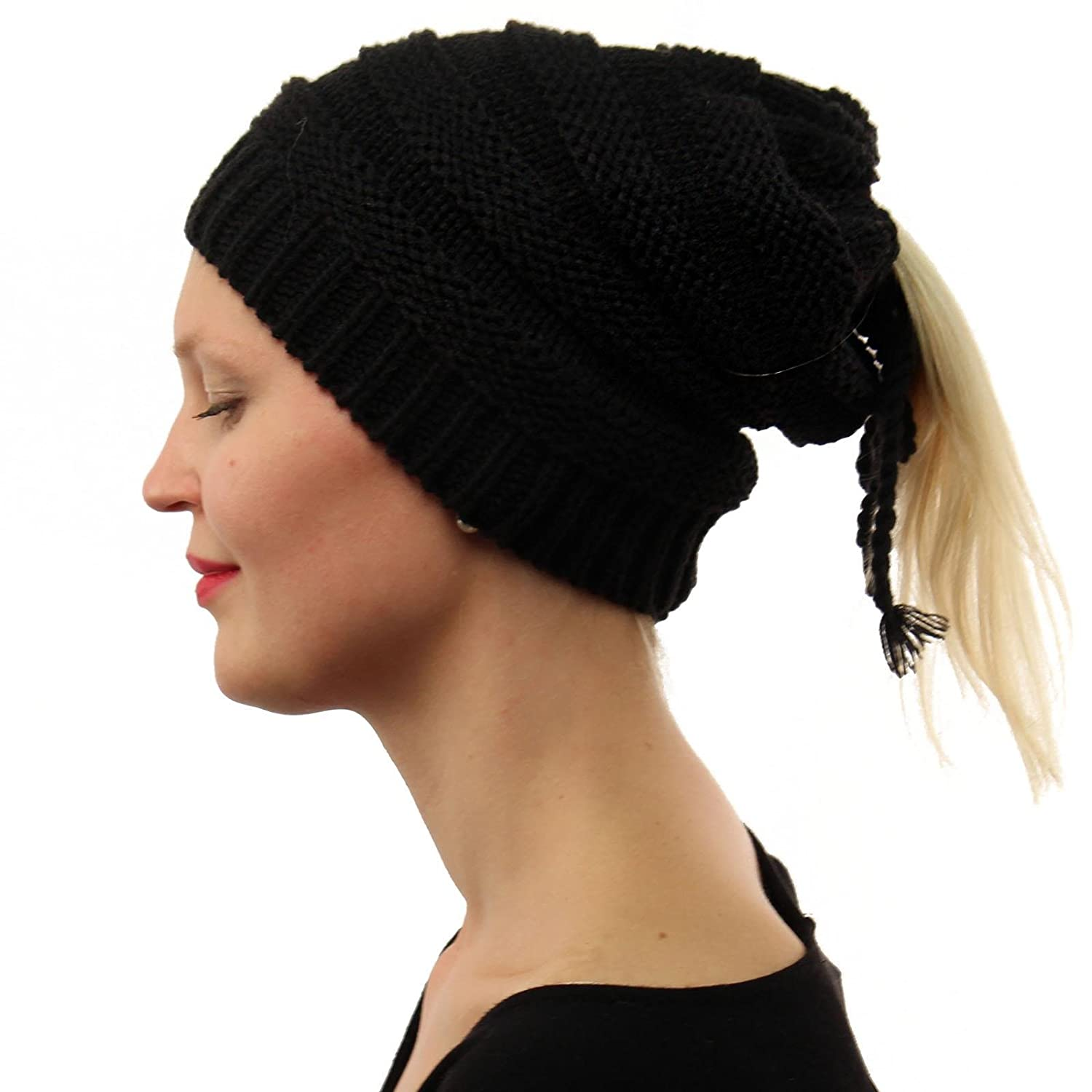 7d5bb3b830d02 SK Hat shop Everyday 3 in 1 Open Top Messy Bun Ponytail Stretch Knit Beanie  Skull Hat Black  Amazon.ca  Clothing   Accessories