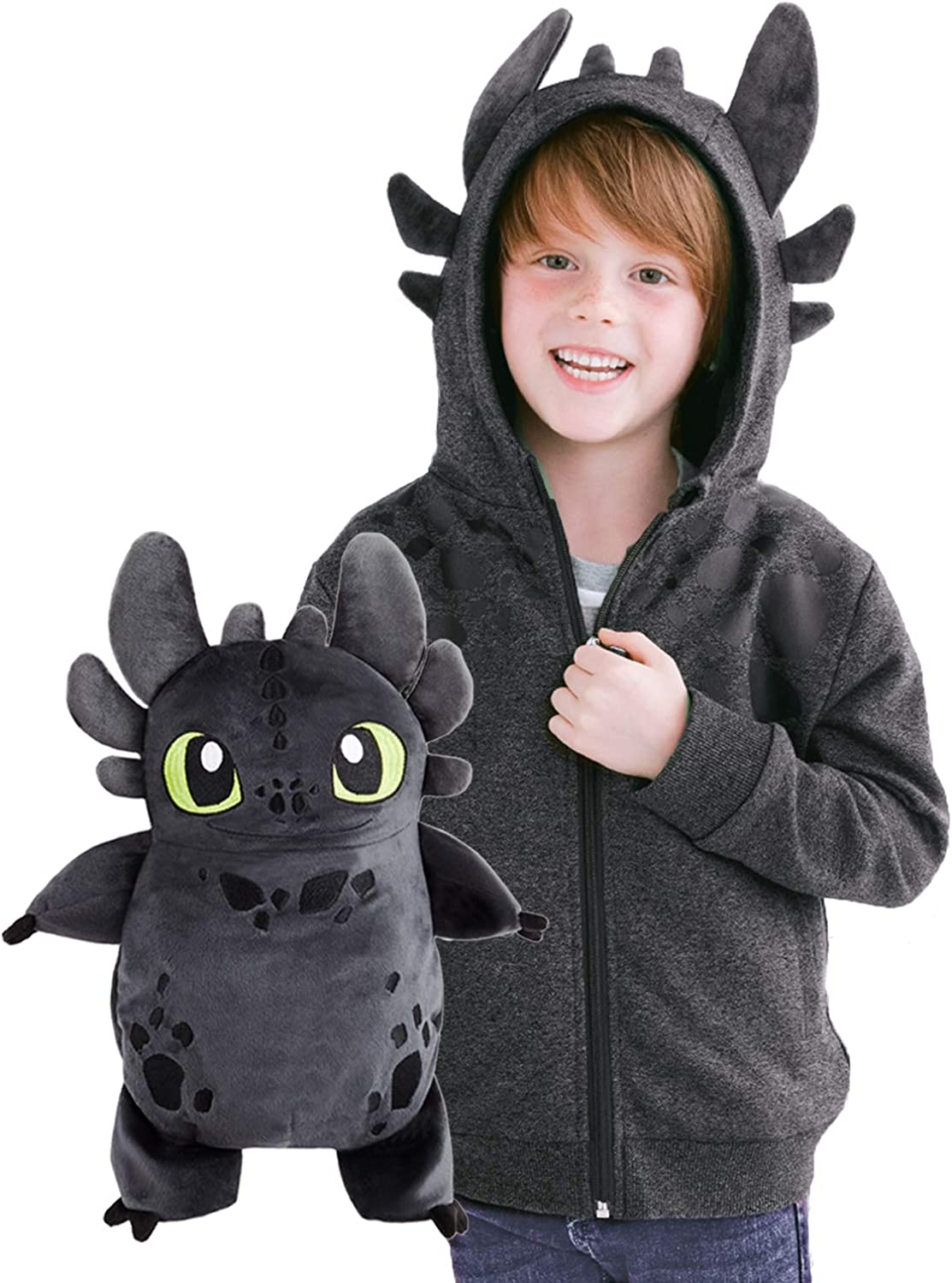 Cubcoats Toothless Dragon - 2-in-1 Transforming Hoodie and Soft Plushie - How to Train Your Dragon - Glow in The Dark Grey