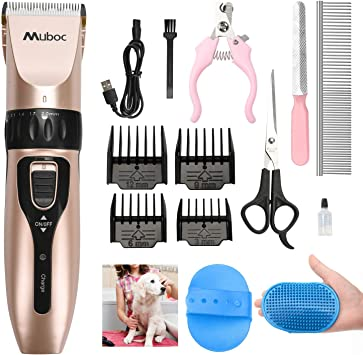 Muboc Dog Clippers Professional Rechargeable Cordless Low Noise Pet Grooming Clippers Hair Trimmer Tool Kit With 4 Comb Guides Scissors For Dogs Cats Any Animals Amazon Co Uk Pet Supplies