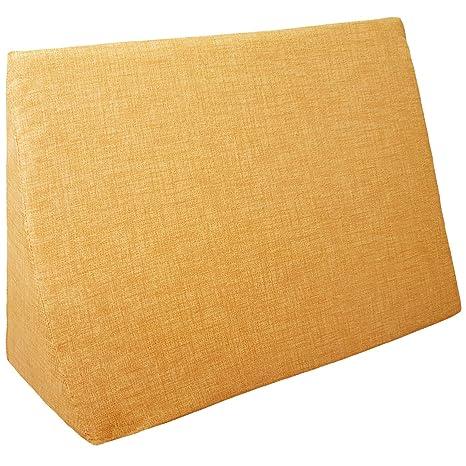 Jarrous Cojín con Forma de Cuña | Almohada Lectura Lumbar Triangular | Cojin Sofá y para Cama, Color Ocre, Medida 60x30x50cm