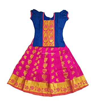 b8c87aa79 Amazon.com: Pattu Pavadai Silk for Baby Girls/Kids Pink and Blue, 8 ...