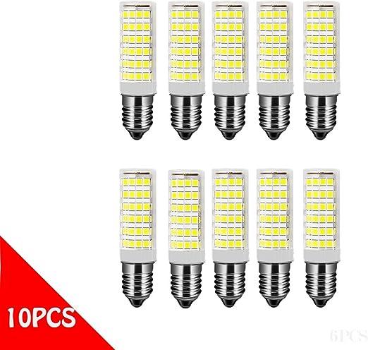 OUGEER Pack de 10 Bombillas LED E14 7W,Blanca Fría 6000K, AC 220-240V, 650 lúmenes, No Regulable, Bombilla Edison pequeña E14 7W Reemplace la bombilla halógena de 65W: Amazon.es: Iluminación