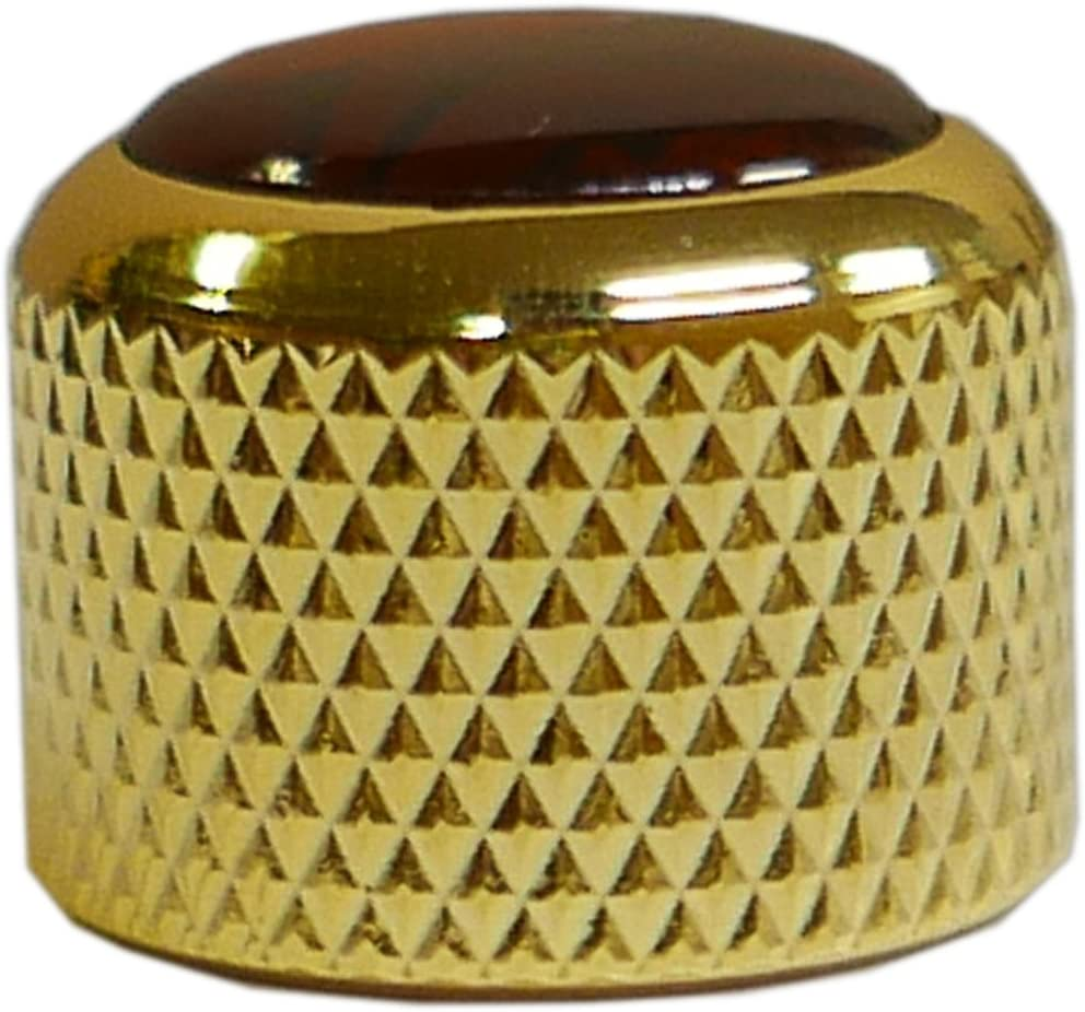 Gold with Red Abalone Shell Inlay Q-Parts Dome Guitar Knob