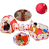 Baby Ball Pit Balls, SoulStore Kids Pop up Play House Tent Tunnel Pool Indoor and Outdoor Play Tent and Tunnel Easy Folding Cute Polka Dot 3 in 1 Play House Children's Playground with Zippered Storage Bag