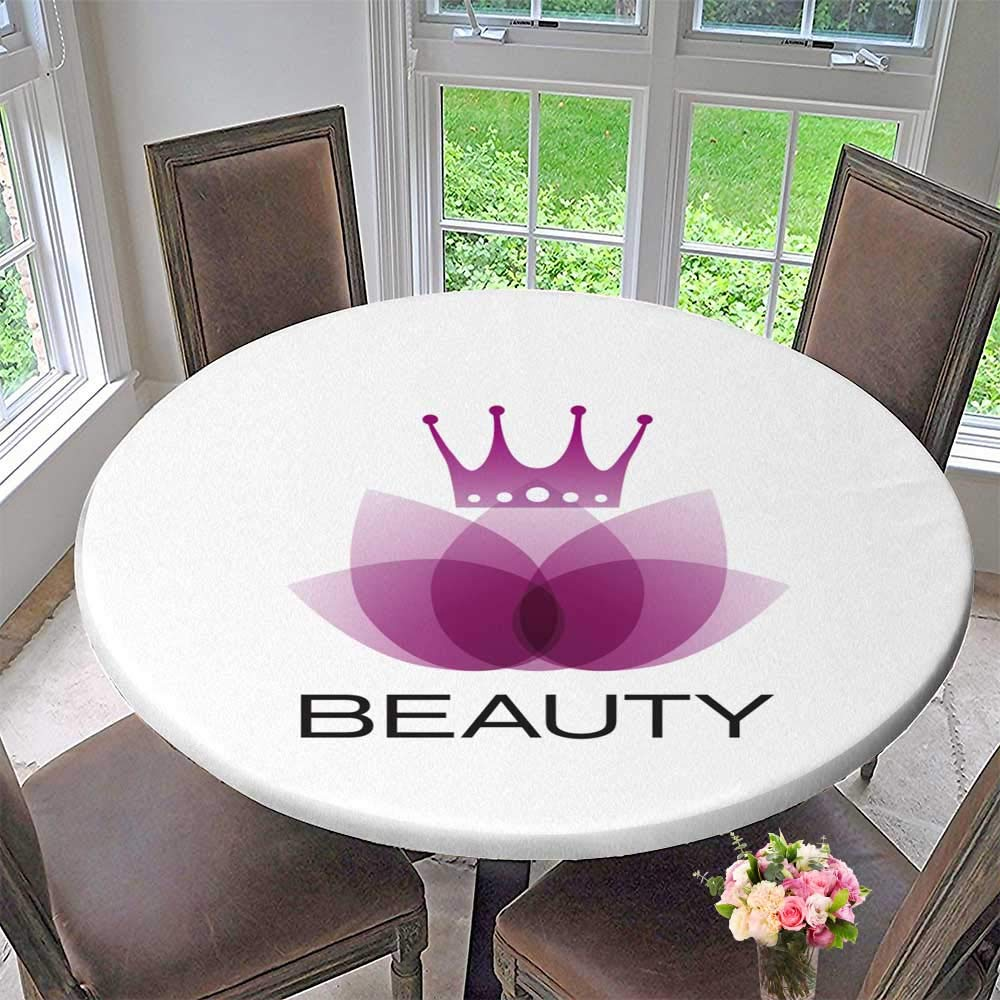PINAFORE HOME The Round Table Cloth Vector Sign Purple Leaves and Crown spa Yoga and Relax Concept for Birthday Party, Graduation Party 43.5''-47.5'' Round (Elastic Edge)
