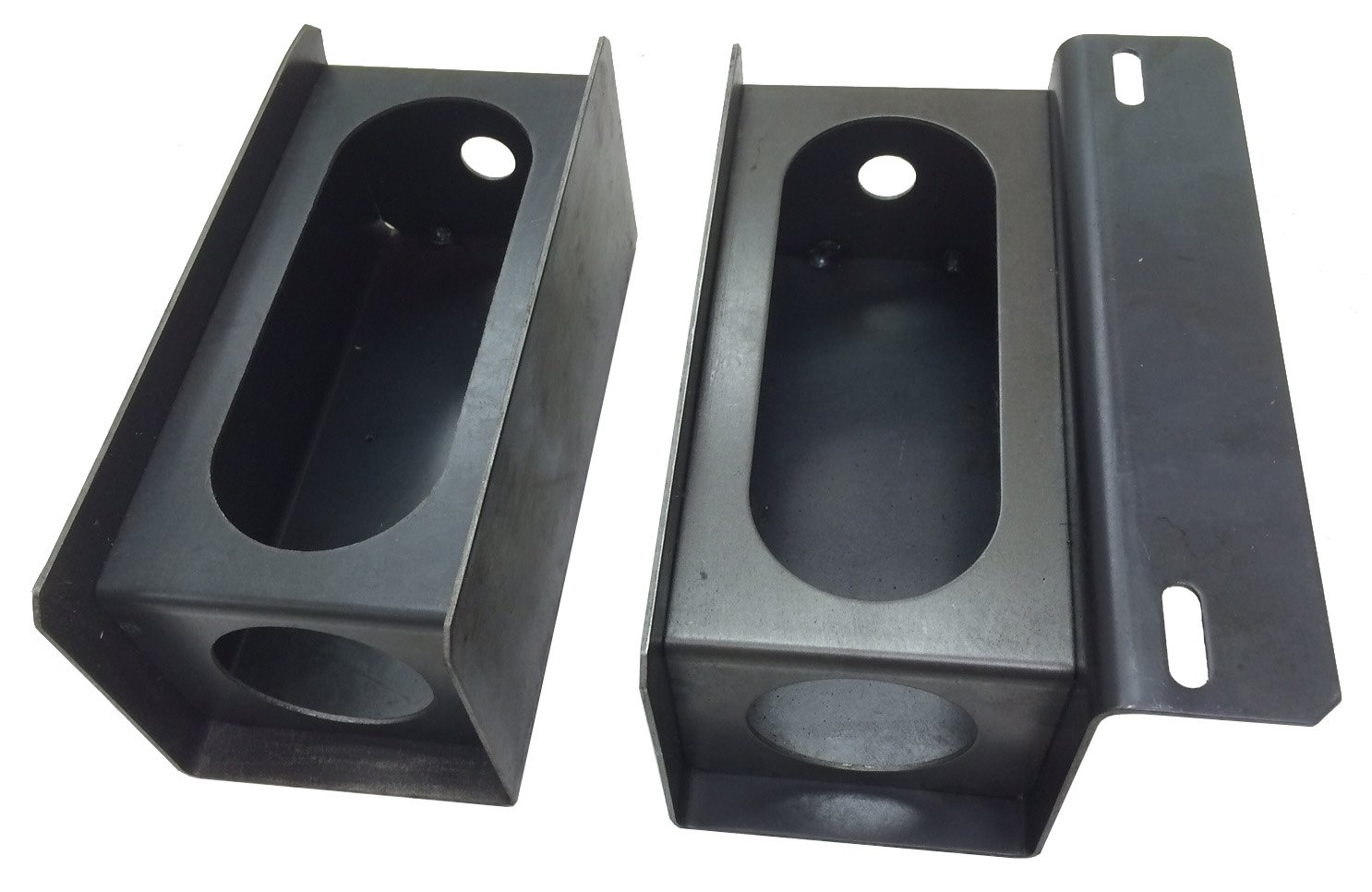 Set of Steel Trailer 6'' Oval & 2'' Round Side Light Mount Box W/License Plate Rack - 24013/24014 by LIBRA