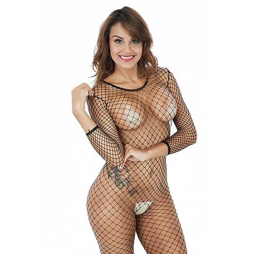 bb9950262f Women s Crotchless Fence Net Bodystocking Long Sleeve Fishnet Bodysuit  Lingerie