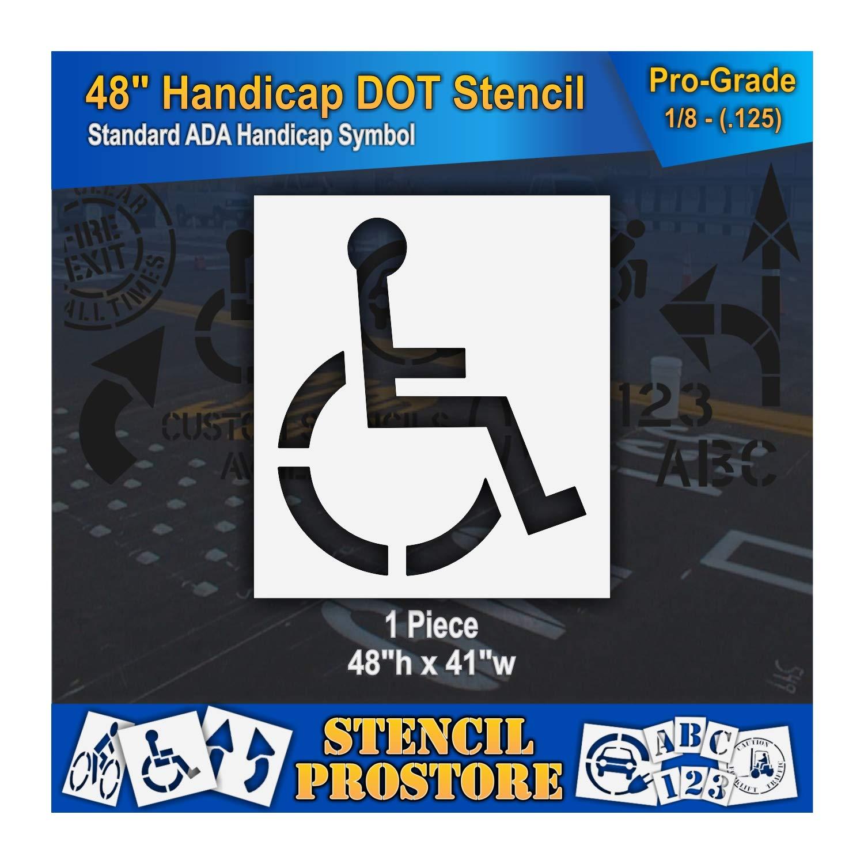 Pavement Stencils - 48 inch - Handicap - ADA Stencil - 48'' x 41'' x 1/8'' (128 mil) - Pro-Grade