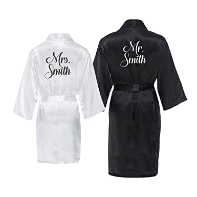 Mr And Mrs Personalized Robe Set With New Last Name Black White