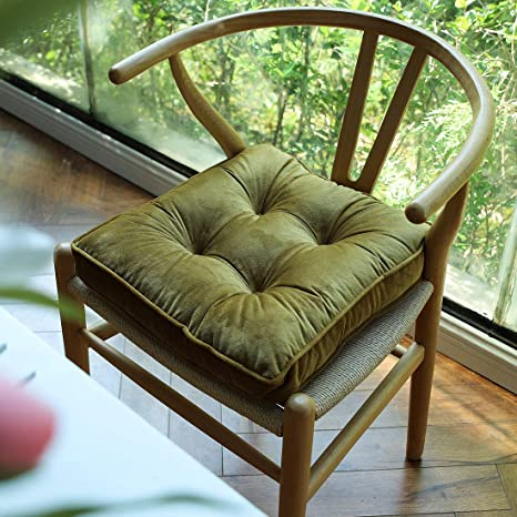 Hardwood Floors Gold Yellow, 16x16 vctops Soft Chair Pads with Ties Comfy Solid Seat Cushion for Dining Chairs Office Chairs