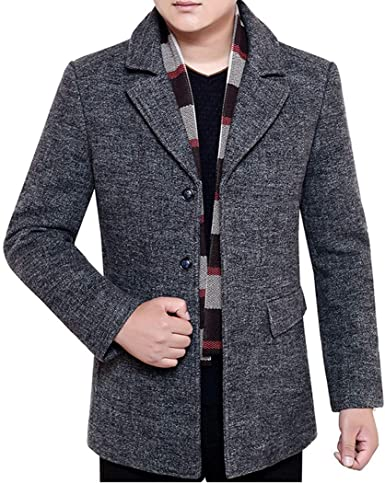 INVACHI Mens Single breasted Mid-length Winter Woolen Business Coat with Free Detachable Soft Touch Wool Scarf