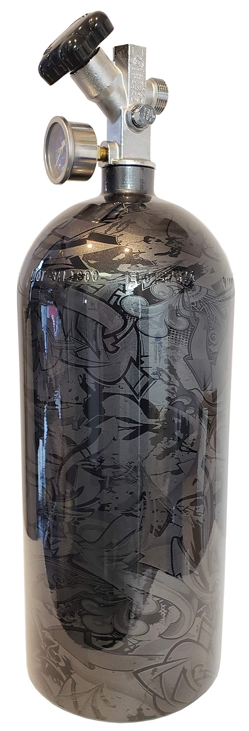 10lb Nitrous Oxide Bottle Custom Metallic Graphite High Gloss W/Super Hi Flo Valve 14745BNOS by Bag R BUck