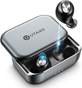 Wireless Earbuds, Utaxo Bluetooth 5.0 in-Ear Stereo Headphones with 100Hours Playtime, 2200mAh Slide Aluminum Charging Case, IPX7 Waterproof TWS Stereo Headphones, Built-in Mic Single/Twin Mode